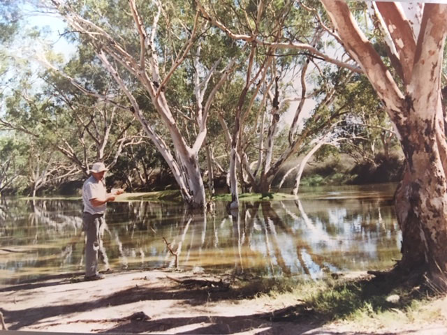 Cooper Creek fishing for yellow belly Cooper Creek to Cunnamulla Bike Ride
